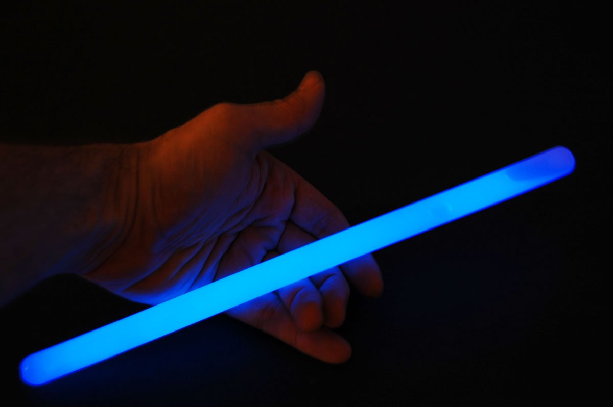 Set of 6 12inch 15mm Grande BLUE 12 Hour Safety Glow Sticks