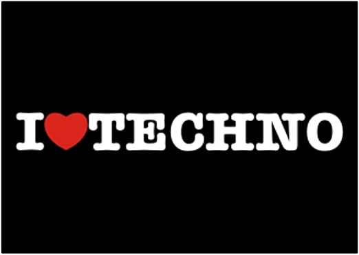 Teeburon I Love Techno Pack de Pegatinas x4: Amazon.es: Hogar