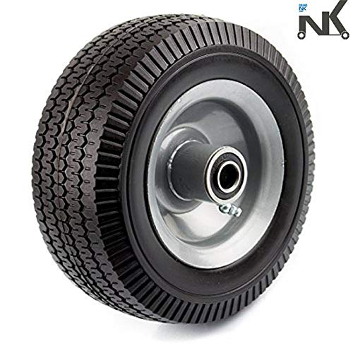 NK Troy Safety WFF8 Heavy Duty 8-Inch Solid Rubber Flat Free Tubeless Hand Truck/Utility Tire Wheel ()