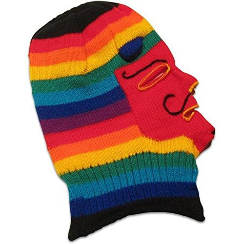 Knitted Wool Mask - Waq'ollo - Rainbow Stripe (Shaman Mask)