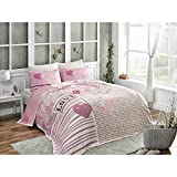 LaModaHome 4 Pcs Luxury Soft Colored Bedroom Bedding 100% Cotton Double Coverlet (Pique) Set Thin Summer/Pink Purple Brown Love Heart Butterfly Polke Dots/Double with Flat Sheet