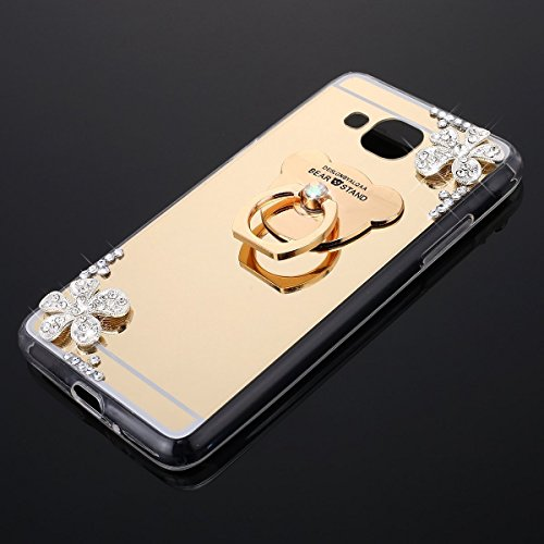 Funda Samsung J2 2016 J210,Saincat TPU Silicona Carcasa Caso Diamante Piedras de Strass Brillo Bling Flores Espejo Funda Mirror Case con Ring Stand Holder Bumper Case Cover para Samsung J2 2016 J210 - Oro