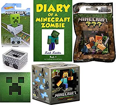 Zombie Minecraft Mini Buildable Figure Craftables Blind Box Series 1 Buildable Scene & Diary a Zombie & Minecart Hot Wheels / Foil Sticker & Metal Blind Bag Character Game Bundle