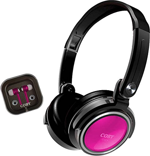 Coby CVH-800-PNK Jammerz Xtra Headphones and Earbuds with Case, Pink