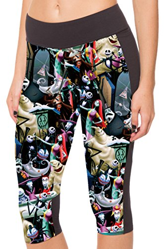 COCOLEGGINGS Nightmare Before Christmas Printed Capri Leggings Workout Tights -