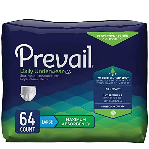 Prevail Maximum Absorbency Incontinence Underwear Large 64 Count (Pack of 4) Breathable Rapid Absorption Discreet Comfort Fit Adult Diapers ()