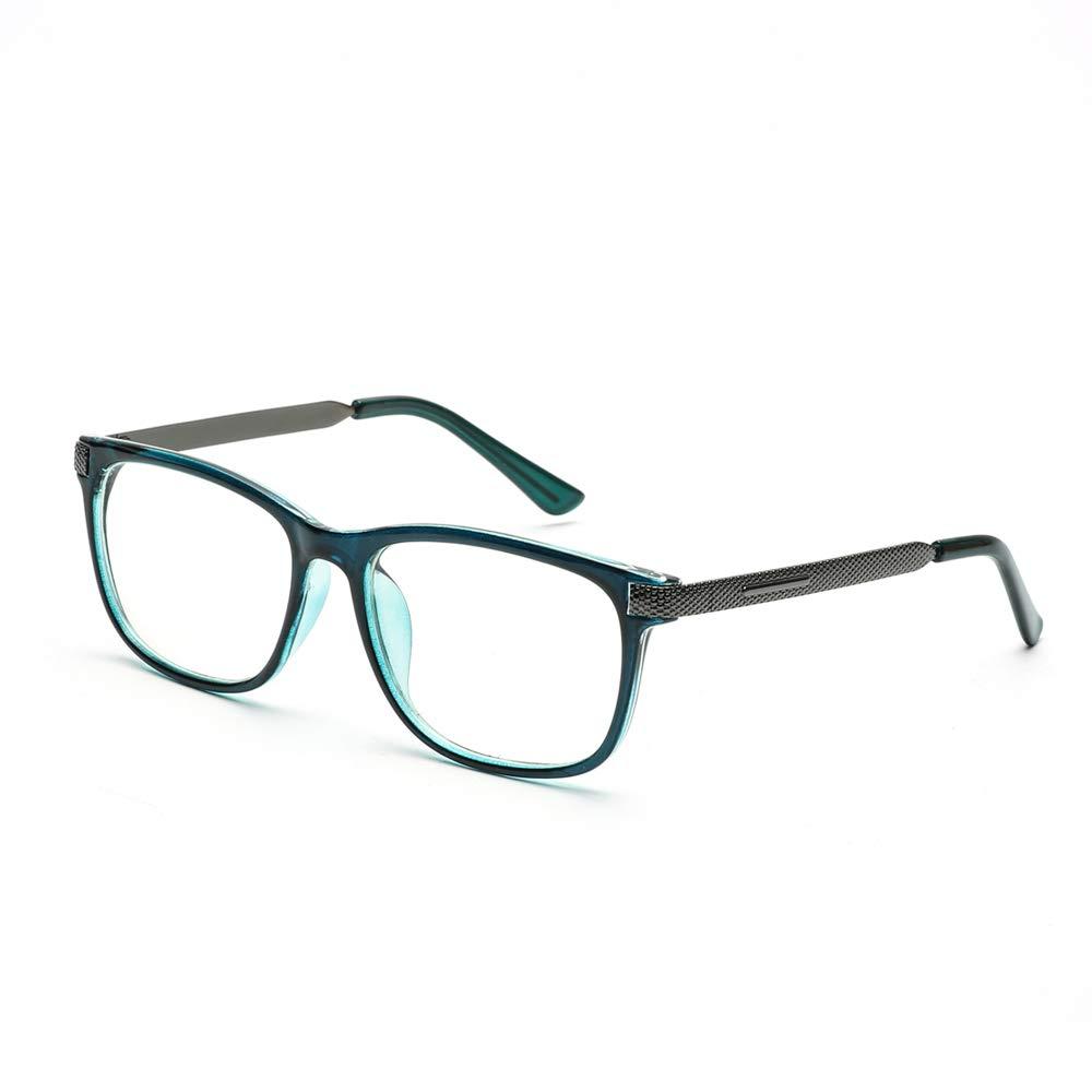 Blue Light Blocking Computer Reading Glasses (UV Protection,Transparent Lens) - Anti Harmful Blue Light/Blue Ray/Eyestrain for Men/Women(No Magnification, Transparent Blue) by Somaer