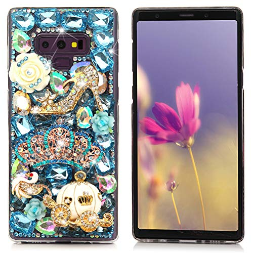 Galaxy Note 9 Case, Mavis's Diary Full Edge 3D Handmade Luxury Bling Crytal Fashion Design Shiny Gem Pearl Rhinestone Diamond Clear Hard Protective Plastic PC Cover - Blue ()