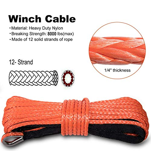 Yoursme Nylon Synthetic Winch Cable Rope with Sheath for SUV ATV UTV Winches Truck Boat Ramsey Car 1/4