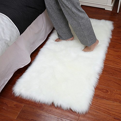 White Plush - Dikoaina Classic Soft Faux Sheepskin Chair Cover Couch Stool Seat Shaggy Area Rugs for Bedroom Sofa Floor Fur Rug,White,2x3 Feet Rectangle