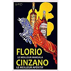 "16"" X 20"" Zebra Cinzano Florio Italy Drink by Cappiello Italian Vintage Poster Repro Standard Image Size for Framing. We Have Other Sizes Available!"