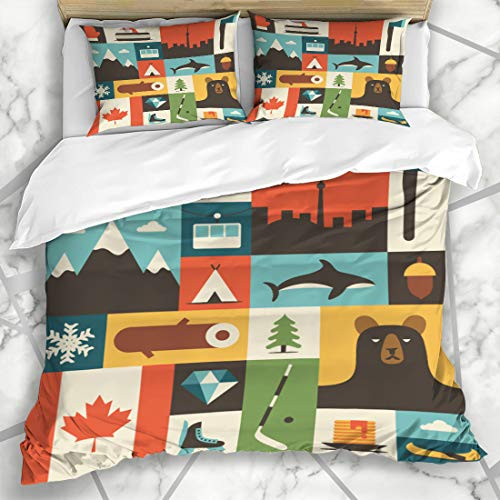 Ahawoso Duvet Cover Sets Queen/Full 90x90 Toronto Red Canadian Canada Flat Travel Vancouver Mountain Pattern Design Maple Microfiber Bedding with 2 Pillow -