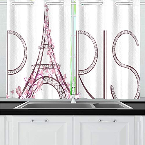 WUTMVING Pink Eiffel Tower with Paris Lettering Kitchen Curtains Window Curtain Tiers for Café, Bath, Laundry, Living Room Bedroom 26 X 39 Inch 2 Pieces