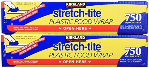Kirkland Signature Stretch Tite Plastic Food Wrap HUGE 11 7/8' X 758 ft.(750 SQ. FT.) (Pack of 2)