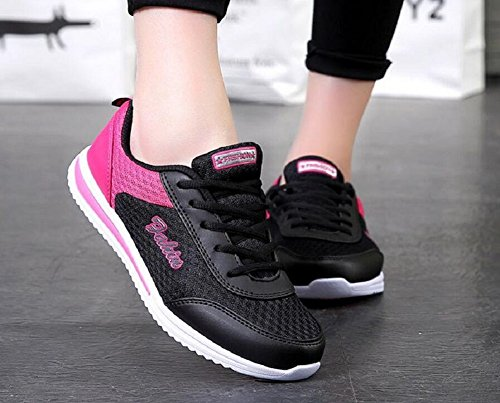 Womens Mesh Running Shoes Outdoors Sports Lace Up Fashion Sneakers by JiYe Black Red aj9y2u