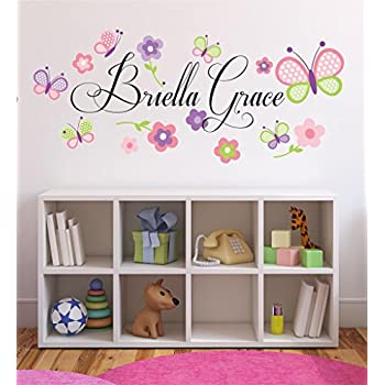 Amazoncom Wall Decals Personalized Name Butterflies Vinyl - Wall decals butterfliespatterned butterfly wall decal vinyl butterfly wall decor