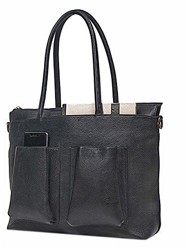 Multi Pocket Laptop Tote (TLB Multi Pocket Leather Laptop Shoulder Bag Tote Bag, Black)