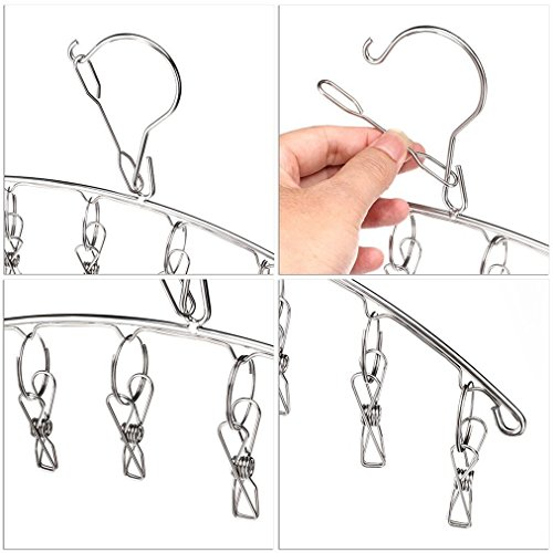 KEREITH 3Pack Sock Dryer Hanger Laundry Drying Rack Indoor Outdoor Drip Hanger with 10 Pegs Drying Towels, Diapers, Baby Clothes,Underwear, Glves,Delicate Bras(3pack laundry pegs) by KEREITH (Image #1)