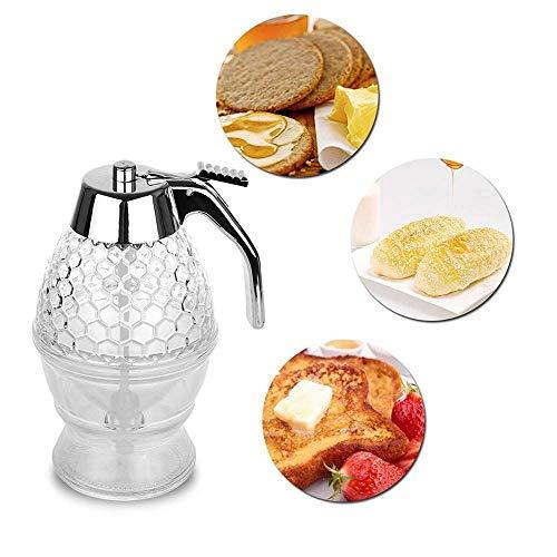 - NBRTT Transparent Honey pear/Honey Dispenser with Acrylic and ABS Base, Honeycomb Honey Dispenser, 200ML Syrup Dispenser, Acrylic Storage Pot with Storage Rack