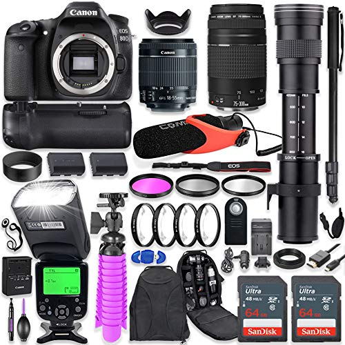 Canon EOS 80D DSLR Camera Kit with Canon 18-55mm & 75-300mm Lenses + 420-800mm Telephoto Zoom Lens + Battery Grip + TTL Flash (Upto 180 Ft) + Comica Microphone + 128GB Memory + Accessory Bundle ()