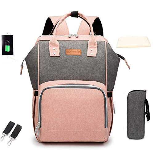 Ankomming Diaper Bag Backpack Multifunction Travel Back Pack Nappy Maternity Backpack for Mom with USB Charge Large Capacity, Waterproof and Stylish,Pink