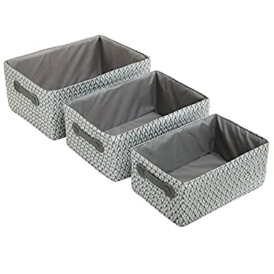 Set of 3 Nesting Storage Baskets, Woven Magazine & Newspaper Bins, Toy Organizers, Gray - SET OF 3 HAND-WOVEN BASKETS: 3 different sizes durable rectangular baskets with gray fabric liners. SPACE SAVING: the baskets nest inside one another for easy storage. Each basket features 2 handles for convenient transport. MULTIPLE FUNCTION: ideal for baby clothes, kids toys, bath and beauty products. Add special accent to your bedroom, child's nursery, bathroom. - living-room-decor, living-room, baskets-storage - 517nUvsWRpL. SS400  -