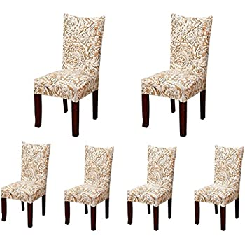 Soulfeel 6 X Soft Spandex Fit Stretch Short Dining Room Chair Covers With  Printed Pattern, Banquet Chair Seat Protector Slipcover For Home Party  Hotel ...