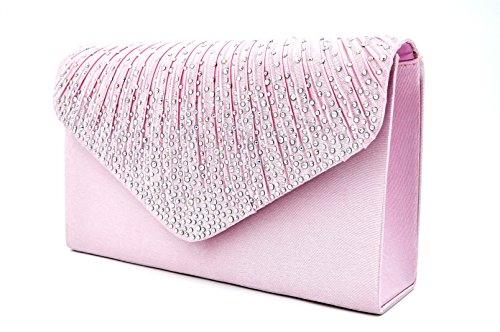 Satin Bridal Handbag - Nodykka Women Evening Envelope Rhinestone Frosted Handbag Party Bridal Clutch Purse Shoulder Cross Body Bag