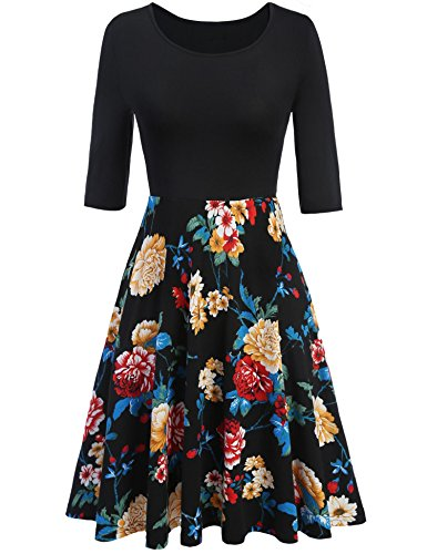 Meaneor Women's 3/4 Sleeve Vintage Patchwork A-line Floral Cocktail Party Dress