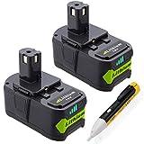 Powerextra P107 5000mAh Ryobi 18V Lithium Battery for Ryobi 18 Volt ONE+ P102 P103 P104 P105 P107 P109 P122 Cordless Power Tools, 2 Pack (2 pack)