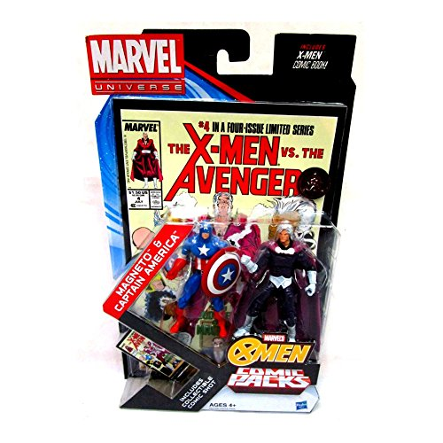 Marvel Universe, Exclusive Action Figure Comic Pack, Captain America & Magneto, 3.75 Inches