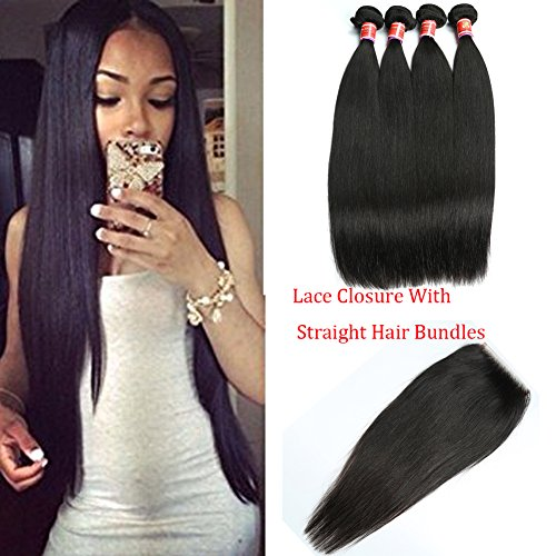 Ali Great 8A Quality Brazilian Straight Virgin Hair 4 Bundles With Lace Closure Grace Unprocessed Straight Human Hair Weave With Closure Free Part (18with20 22 24 26)