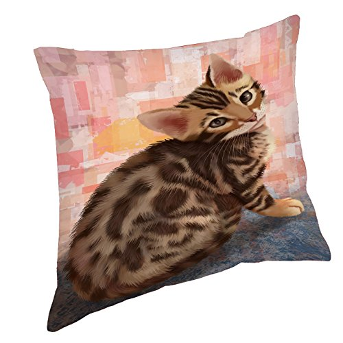 Bengal Cat Throw Pillow (18x18)
