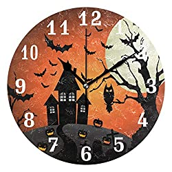 AUUXVA SEULIFE Wall Clock Halloween Owl Castle Tree Moon, Silent Non Ticking Clock for Kitchen Living Room Bedroom Home Artwork Gift