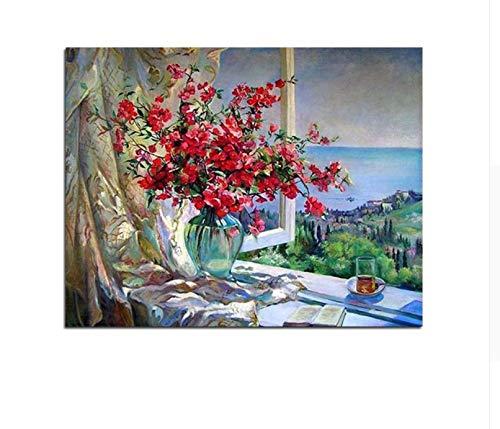 CZYYOU DIY Saflor Vase Fensterbrett Malen Nach Zahlen Stillleben Farbeing by Numbers, Mit Rahmen, 40x50cm B07Q7XWZVC | Nicht so teuer