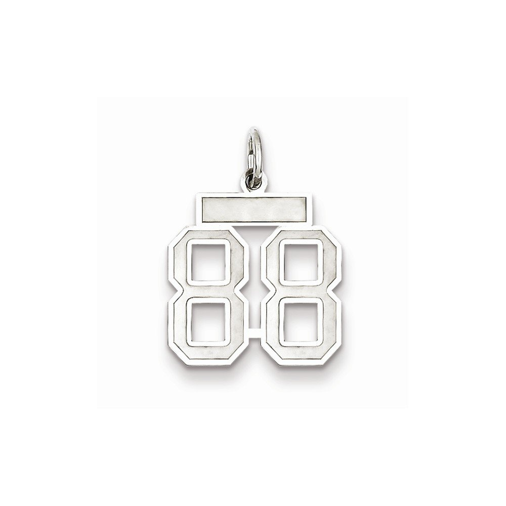 Number 88 Pendant Eighty Eight Digit Charm Numeral Satin Small Sterling Silver