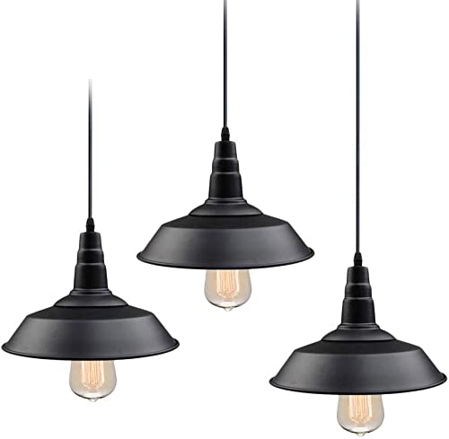 LNC Pendant Lighting for Kitchen Island 3-Pack Barn Hanging Fixtures with Matte Black Finish for Dining Room, Bar Counter, Restaurant, A0190709, 3 Pack