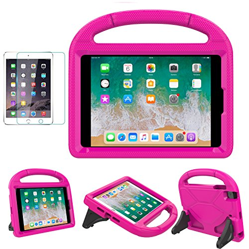 (iPad Mini 1/2/3/4 Case for Kids, SUPLIK Shockproof Protective Handle Bumper Stand Cover with Kickstands and Screen Protector for Apple 7.9 inch iPad Mini 1st,2nd,3rd,4th Generation, Pink)