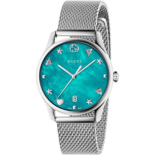 Gucci G-Timeless Turquiose Mother of Pearl Dial Ladies Mesh Watch YA1264039