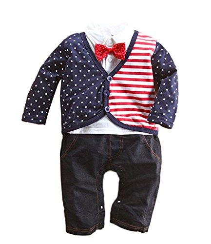 stylesilove Baby Boy American Flag Inspired Tuxedo Romper (80/12-18 - Usa Gatsby