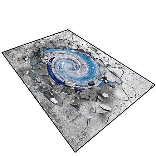 - 3D Modern Luxury Rug 3D Effect of The Trap Vortex.Dark Cracked Broken Hole in Concrete Wall.The ice of Antarctica Home Bathroom