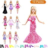 """Keysse Doll Clothes Lot 20 Items = 10 Packs Party Dresses Grown Outfits for 11.5"""" Doll and 10 Pairs Shoes for Girl Birthday Xmas Gift"""