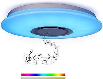 Luz de techo LED de música de 24W Ø40cm con control remoto ...
