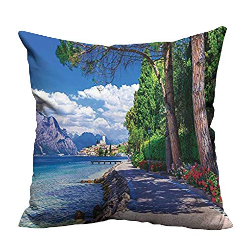 YouXianHome Decorative Throw Pillow Case Scenic of Lago di Garda Malcesine Italy from Stone Bicycle Road with Ideal Decoration(Double-Sided Printing) 17.5x17.5 -