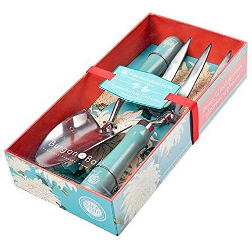 Burgon & Ball Womens Ladies Chrysanthemum Collection Gardening Trowel and Fork Gift Set (Engraved Garden Trowel)