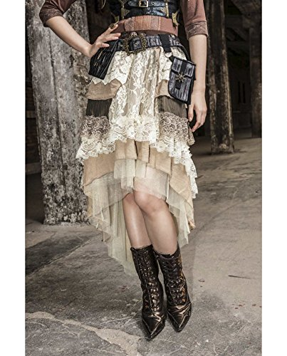 Women's Layered Hi-Low Steampunk Skirt Cream (Small/Medium) (Old West Saloon Girl Costume)