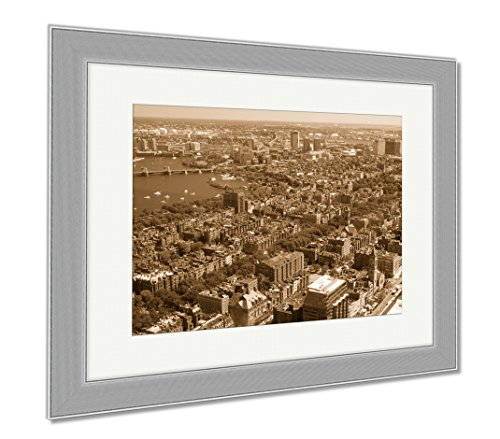 Ashley Framed Prints Aerial View Of Downtown Boston Prudential Tower Ma USA, Wall Art Home Decoration, Sepia, 34x40 (frame size), Silver Frame, - Ma Prudential