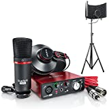 Focusrite Scarlett Solo Compact USB Audio Interface Studio Package - 2nd Generation with Microphone Isolation Shield With Stand