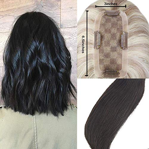 Easyouth Long Topper Hair Piece Human Hair 6.5inches×3inches Clip in Remy Topper Crown Extensions 20