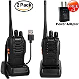 Long Range Rechargeable Walkie Talkies - Greaval UHF 400-470Mhz 16 Channel 2 FREE Charger Adapters Two-way Radios With Flashlight for Adult Outdoor Activity Camping Hiking Hunting (2 Pack)
